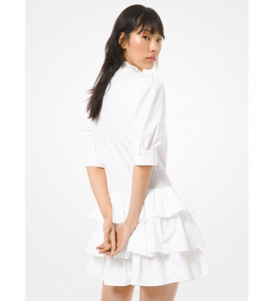 MICHAEL Michael Kors Cotton Poplin Ruffled Dress