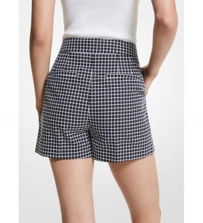 MICHAEL Michael Kors Check Cotton Blend Pleated Shorts