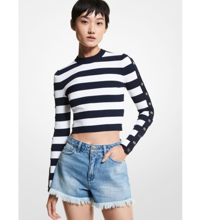 MICHAEL Michael Kors Striped Stretch Viscose Cropped Sweater