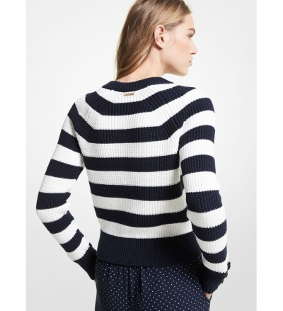 MICHAEL Michael Kors Striped Ribbed Cotton Sweater
