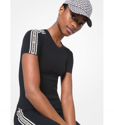 MICHAEL Michael Kors Logo Tape Textured Knit Short-Sleeve Sweater