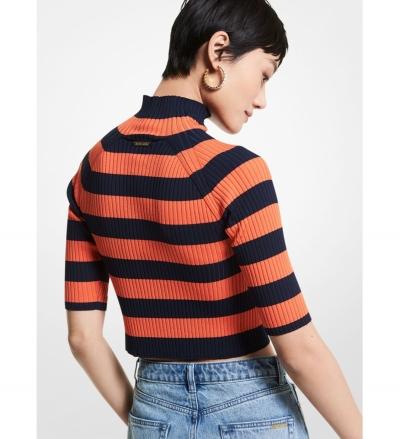 MICHAEL Michael Kors Striped Stretch Viscose Short-Sleeve Sweater