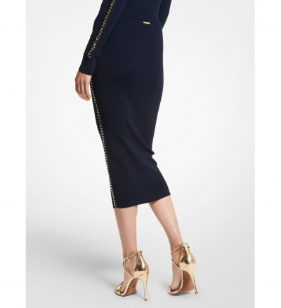 MICHAEL Michael Kors Chain Link Stretch Viscose Skirt