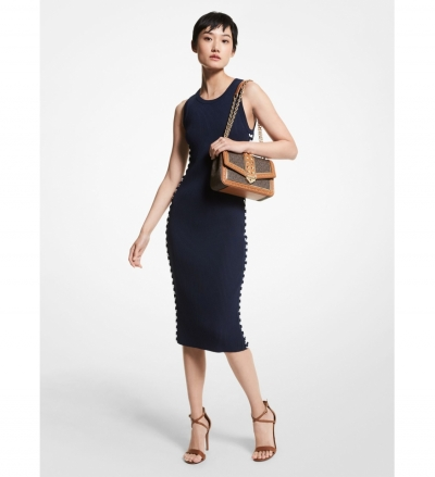 MICHAEL Michael Kors Ribbed Stretch Viscose Lace-Up Dress