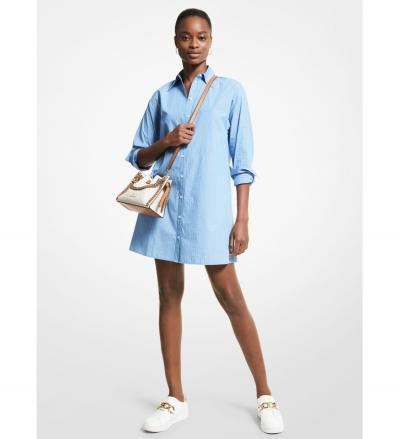 MICHAEL Michael Kors Striped Stretch Cotton Poplin Shirtdress