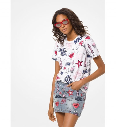 MICHAEL Michael Kors Sketch-Print Cotton T-Shirt