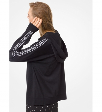MICHAEL Michael Kors Logo Tape Stretch-Viscose Zip-Up Hoodie