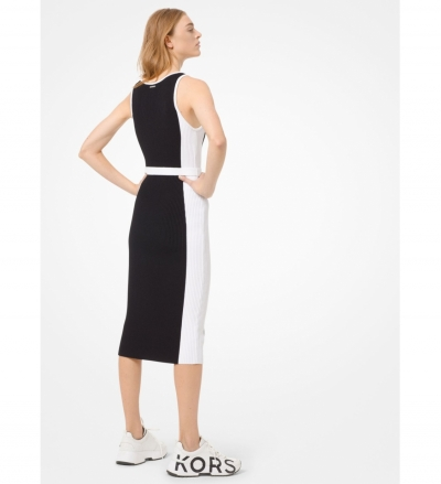 MICHAEL Michael Kors Color-Block Ribbed Knit Dress