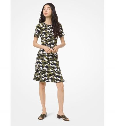 MICHAEL Michael Kors Camouflage Flounce Dress