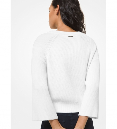 MICHAEL Michael Kors Ribbed Cotton Blend Bell-Sleeve Sweater