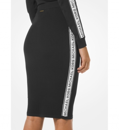 MICHAEL Michael Kors Logo Tape Ribbed Stretch Viscose Pencil Skirt