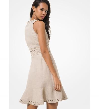 MICHAEL Michael Kors Lace-Up Washed Linen Dress