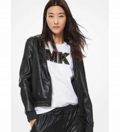 MICHAEL Michael Kors Faux Leather Zip-Up Hoodie