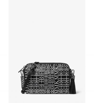 MICHAEL Michael Kors Ginny Medium Newsprint Logo Leather Crossbody Bag