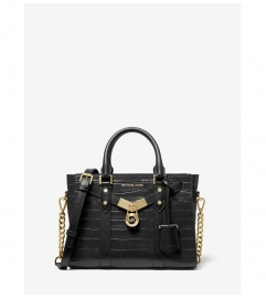 MICHAEL Michael Kors Nouveau Hamilton Small Crocodile Embossed Leather Satchel