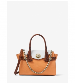 MICHAEL Michael Kors Carmen Small Color-Block Embossed Leather Belted Satchel