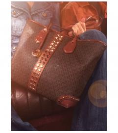 MICHAEL Michael Kors Eva Large Logo and Studded Crocodile Embossed Leather Tote Bag