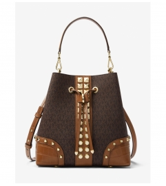 MICHAEL Michael Kors Mercer Gallery Medium Logo and Studded Crocodile Embossed Leather Shoulder Bag