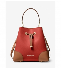 MICHAEL Michael Kors Mercer Gallery Medium Color-Block Pebbled Leather Shoulder Bag