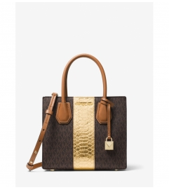 MICHAEL Michael Kors Mercer Logo and Embossed-Leather Crossbody