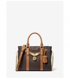 MICHAEL Michael Kors Nouveau Hamilton Small Logo and Leather Satchel