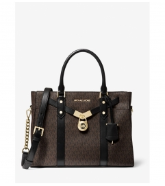 MICHAEL Michael Kors Nouveau Hamilton Large Logo and Leather Satchel