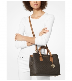 MICHAEL Michael Kors Camille Large Logo and Leather Satchel