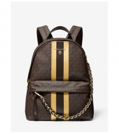 MICHAEL Michael Kors Slater Medium Logo Metallic Stripe Backpack