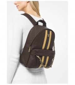 MICHAEL Michael Kors Slater Medium Logo Metallic Stripe Backpack