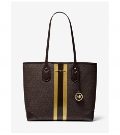 MICHAEL Michael Kors Eva Large Logo Metallic Stripe Tote Bag