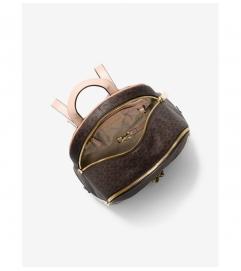 MICHAEL Michael Kors Rhea Medium Logo and Pebbled Leather Backpack