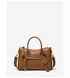 MICHAEL Michael Kors Carine Small Studded Pebbled Leather Satchel