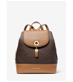 MICHAEL Michael Kors Raven Medium Logo and Pebbled Leather Backpack
