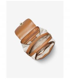 MICHAEL Michael Kors Raven Medium Logo and Pebbled Leather Backpack