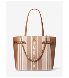 MICHAEL Michael Kors Carmen Large Striped Jacquard and Leather Tote Bag
