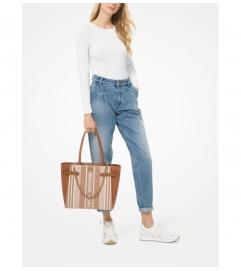 MICHAEL Michael Kors Carmen Large Striped Jacquard and Leather Tote Bag