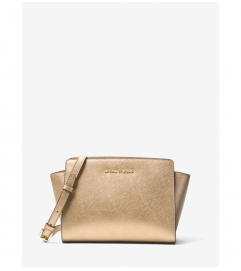 MICHAEL Michael Kors Selma Medium Metallic Leather Messenger