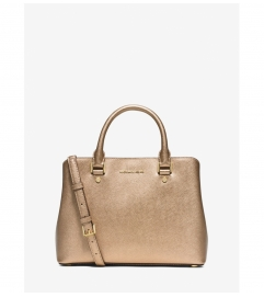 MICHAEL Michael Kors Savannah Medium Metallic Saffiano Leather Satchel