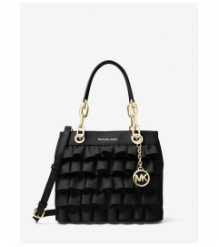 MICHAEL Michael Kors Cynthia Small Ruffled Leather Satchel