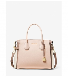 MICHAEL Michael Kors Mercer Medium Tri-Color Pebbled Leather Belted Satchel