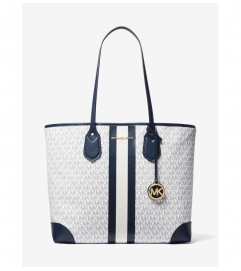 MICHAEL Michael Kors Eva Large Logo Stripe Tote Bag