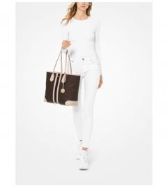 MICHAEL Michael Kors Eva Large Logo Stripe Tote Bag