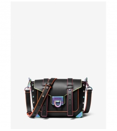 MICHAEL Michael Kors Manhattan Small Contrast-Trim Leather Crossbody Bag