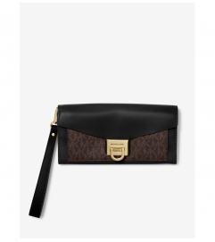 MICHAEL Michael Kors Manhattan Large Viola Leather and Logo Clutch