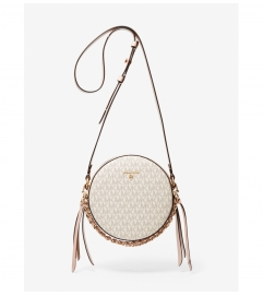 MICHAEL Michael Kors Delancey Medium Two-Tone Logo and Leather Canteen Crossbody Bag