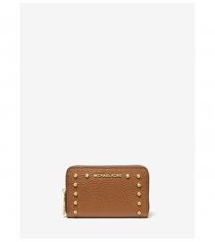MICHAEL Michael Kors Small Studded Pebbled Leather Wallet