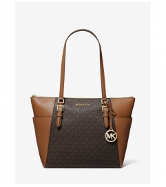 MICHAEL Michael Kors Charlotte Large Logo and Leather Top-Zip Tote Bag