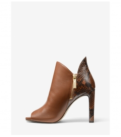MICHAEL Michael Kors Alane Leather and Python Embossed Open-Toe Ankle Boot