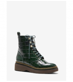 MICHAEL Michael Kors Haskell Crocodile Embossed Leather Combat Boot