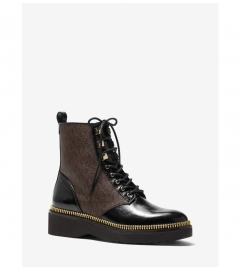 MICHAEL Michael Kors Haskell Crinkled Leather and Logo Combat Boot